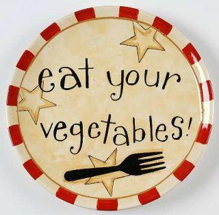 Family Table Salad Plate, Fine China Dinnerware   Words,Utensils,Stars,Checker B