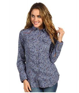Ryan Michael Bluebird Corset Shirt Womens Long Sleeve Button Up (Gray)