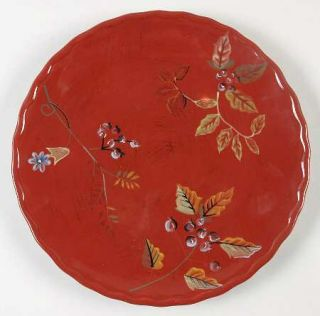 Home Trends Arcadia Dinner Plate, Fine China Dinnerware   Red Background Various