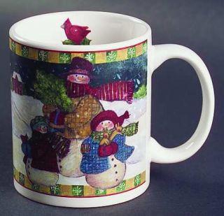 Snowman Family Mug, Fine China Dinnerware   Red Trim,Yellow Band,Snowmen Center
