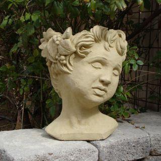 Designer Stone Cherub Head Planter Multicolor   2067