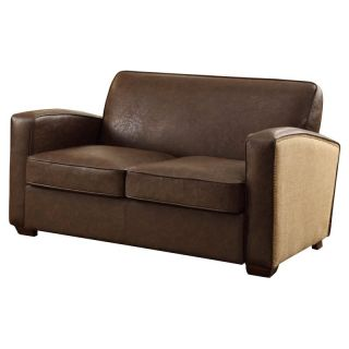 Armen Living Antique Brown Loveseat with Natural Jute and Accent Nails