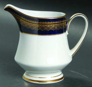 Noritake Vienna Creamer, Fine China Dinnerware   Blue Band, Gold Decor