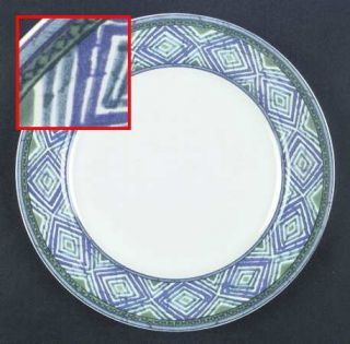 Interiors (PTS) Mosaic Dinner Plate, Fine China Dinnerware   Green & Purple Dsn