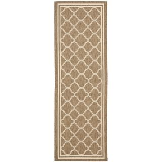 Safavieh Indoor/ Outdoor Courtyard Brown/ Bone Rug (23 X 8)