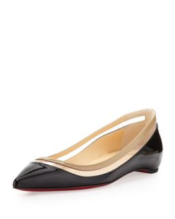 Womens Paulina Pointed Toe Ballet Flat, Black/Beige   Christian Louboutin
