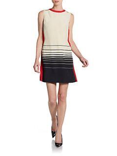 Silk Colorblock Dress   Cream Black