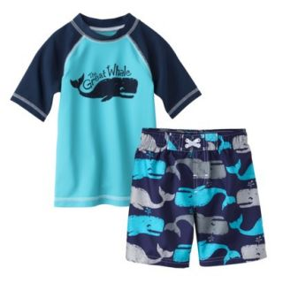 Circo Infant Toddler Boys Whale Rashguard and Swim Trunk Set   Blue 12M