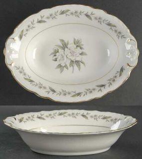 Royal Jackson Fleur De Blanc 10 Oval Vegetable Bowl, Fine China Dinnerware   Pi