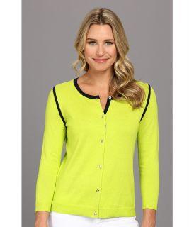 Anne Klein 3/4 Sleeve Crew Neck Cardigan Womens Sweater (Yellow)