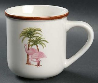 Totally Today Tto20 Mug, Fine China Dinnerware   Brown Band,Pink Flamingos,Palm