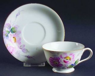 Fuji Wild Rose (Occupied Japan) Footed Cup & Saucer Set, Fine China Dinnerware