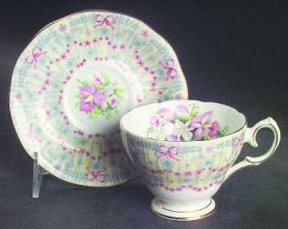 Queen Anne (England) Royal Bridal Gown Footed Cup & Saucer Set, Fine China Dinne