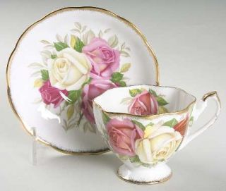 Queen Anne (England) Lady Sylvia Footed Cup & Saucer Set, Fine China Dinnerware