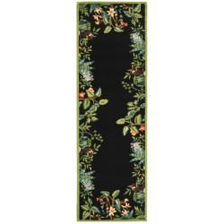 Hand hooked Chelsea Jungle Black Wool Rug (26 X 10)