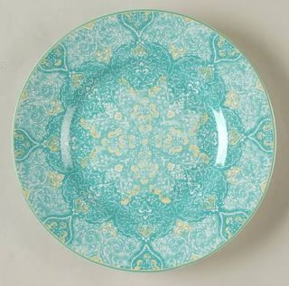 222 Fifth (PTS) Eva Teal Salad Plate, Fine China Dinnerware   Teal,White,Lace,Ri