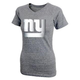NFL Short Sleeve V Neck Shirt Grey M Giants