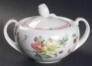 Christian Dior Alsace Sugar Bowl & Lid, Fine China Dinnerware   Pink Bands, Flow