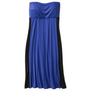 Pure Energy Womens Plus Size Strapless Maxi Dress   Blue/Black 2X
