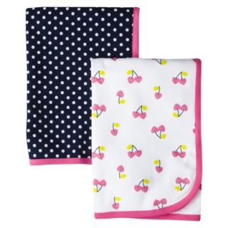 Just One YouMade by Carters Newborn Girls 2 Pack Cherries Blanket   Pink/Blue
