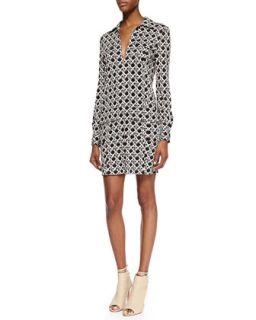 Womens Dilly Long Sleeve Wicker Print Shirt Dress, Black/Caning Mocha   Diane