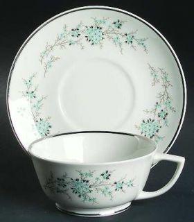 Royal Jackson Flori Flat Cup & Saucer Set, Fine China Dinnerware   Parisienne Sh