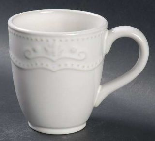 Jaclyn Smith Scalloped Floral White Mug, Fine China Dinnerware   Traditions,Whit