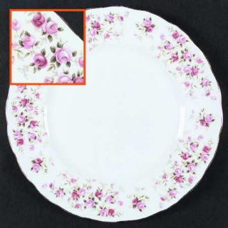 Queen Anne (England) Cascade Roses Dinner Plate, Fine China Dinnerware   Pink Ro