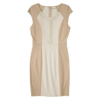 AMBAR Womens Ponte Dress w/ Studs   Honey M