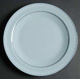 Noritake Wedding Veil Salad Plate, Fine China Dinnerware   Blue & White Geometri