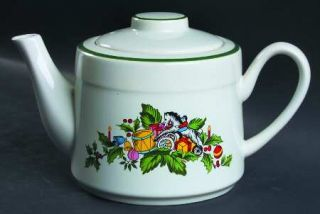 International Noel (Band 1/4 From Edge) Teapot & Lid, Fine China Dinnerware   G