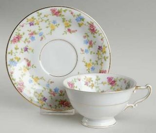 Heinrich   H&C Coquette White Footed Cup & Saucer Set, Fine China Dinnerware   F