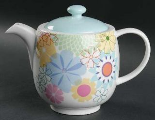 Portmeirion Crazy Daisy Teapot & Lid, Fine China Dinnerware   Large Abstract Flo