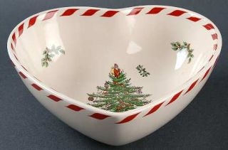 Spode Christmas Tree Green Trim 8 Inch Heart Shaped Bowl, Fine China Dinnerware