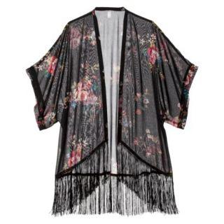 Xhilaration Juniors Kimono Jacket   Black Floral L(11 13)/XL(15 17)