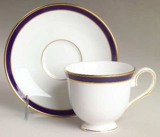 Lenox China Federal Cobalt Footed Cup & Saucer Set, Fine China Dinnerware   Clas