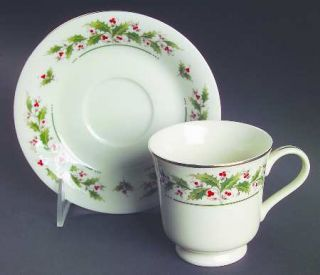Japan China Holly Yuletide Footed Cup & Saucer Set, Fine China Dinnerware   Holl