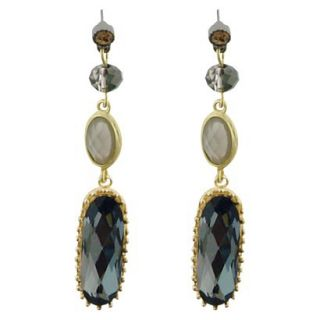 Post Back Linear Drop Earrings with Stones   Gold