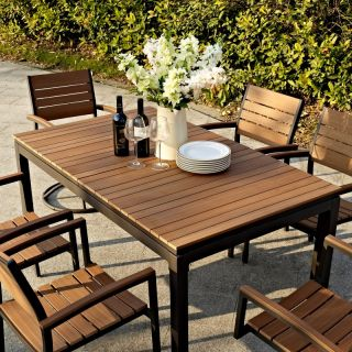 Hayneedle Belham Living Carmona Faux Wood Extension Patio Dining Set   Seats Up