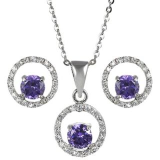 Sterling Silver Cubic Zirconia Jewelry Set   Purple