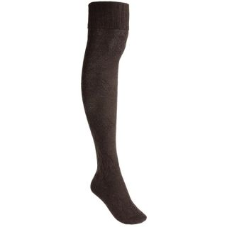 Pantherella Cable Socks   Merino Wool  Over the Knee (For Women)   RASPBERRY (O/S )
