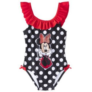 Disney Minnie Mouse Toddler Girls 1 Piece Swimsuit   Black 5T