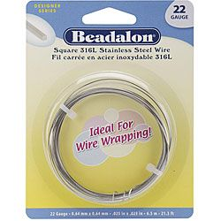 Stainless Steel 22 gauge 6.5 Meters Square Wrapping Wire (Type 316L stainless steel Shape: Square Width: 22 gauge Length: 21.3 feet Stainless steel is harder wire Hardens faster than other wires Perfect for teaching classes Ideal for all types of wire wra