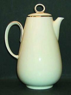 Noritake Ivonne Coffee Pot & Lid, Fine China Dinnerware   Ivory With Platinum Tr