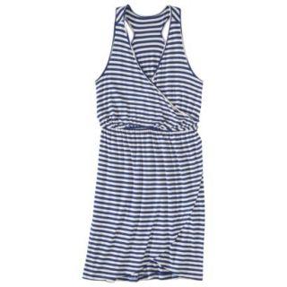 Merona Petites Sleeveless V Neck Dress   Blue/Cream LP