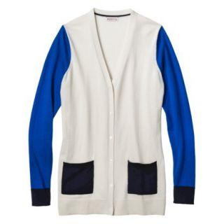 Merona Womens Colorblock Longsleeve Cardigan  White Sand S