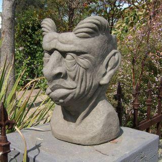 Designer Stone Gargoyle Head Planter Multicolor   2077