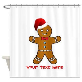 Gingerbread Man Santa Claus Shower Curtain Use Code FREECART At Checkout