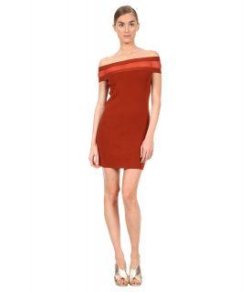 Jean Paul Gaultier Solid Merino Off Shoulder with Inset Dress Womens Swimwear (Red)