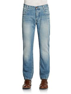 Cotton & Linen Faded Straight Leg Jeans   Light Aged